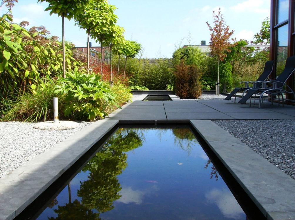 Moderne strakke tuin met spiegelvijver onder de bomen in Den Haag.