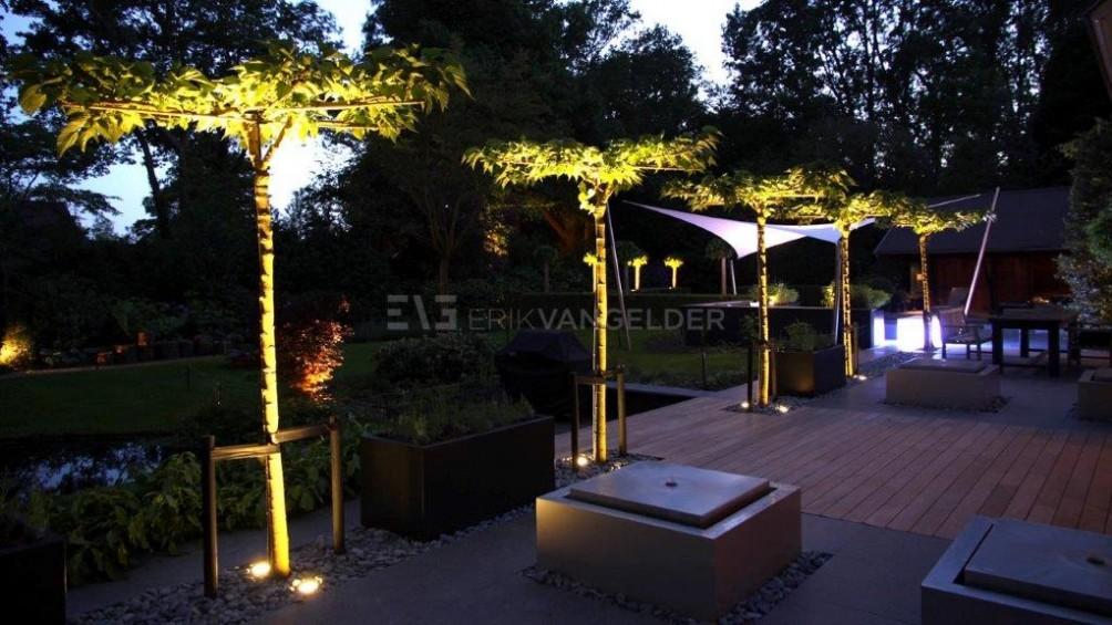 Luxe tuin - ritme van dakmoerbeien met verlichting en watertafels.